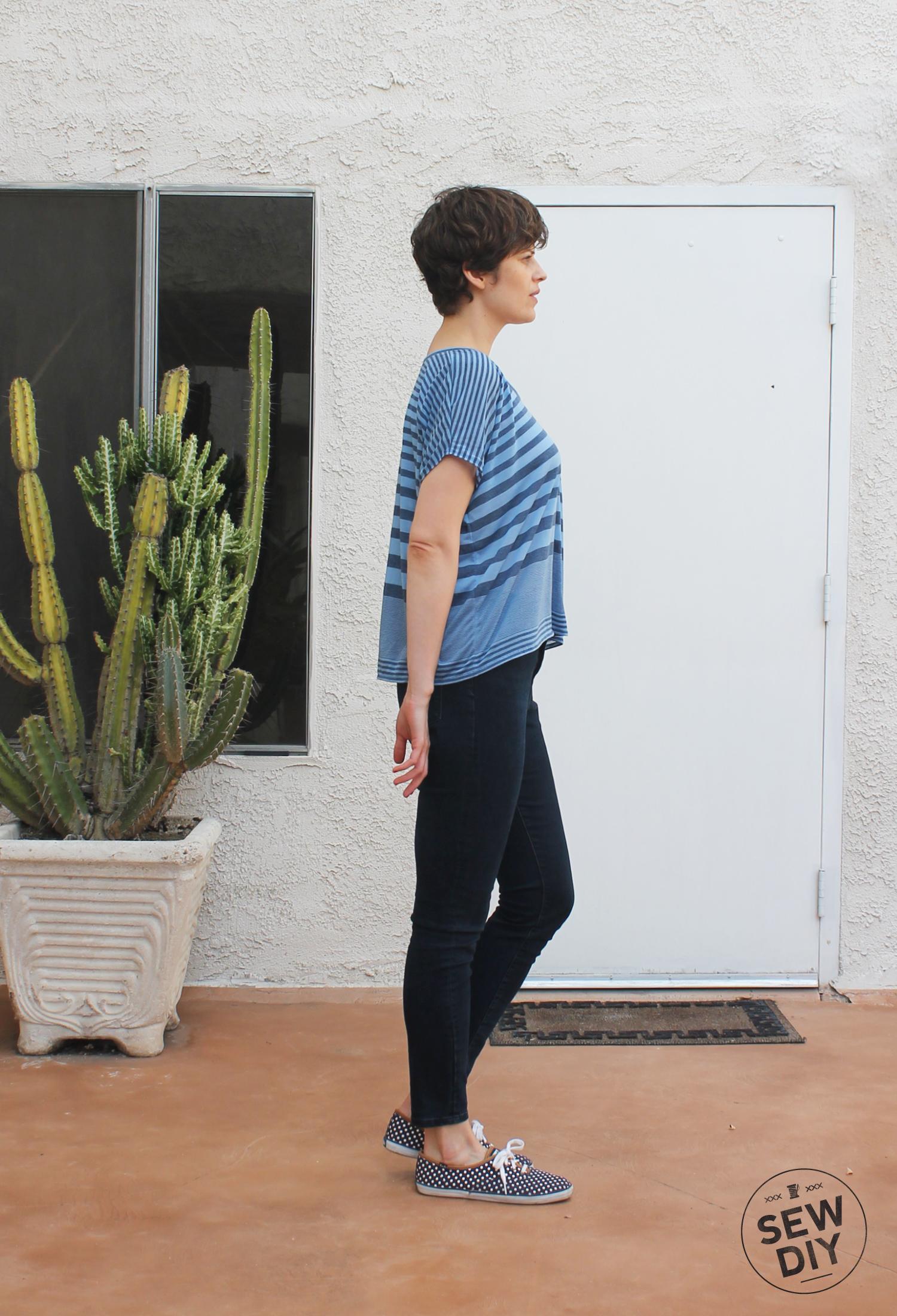 Blue Striped Scoopneck Knit Top – Lou Box Top – Sew DIY