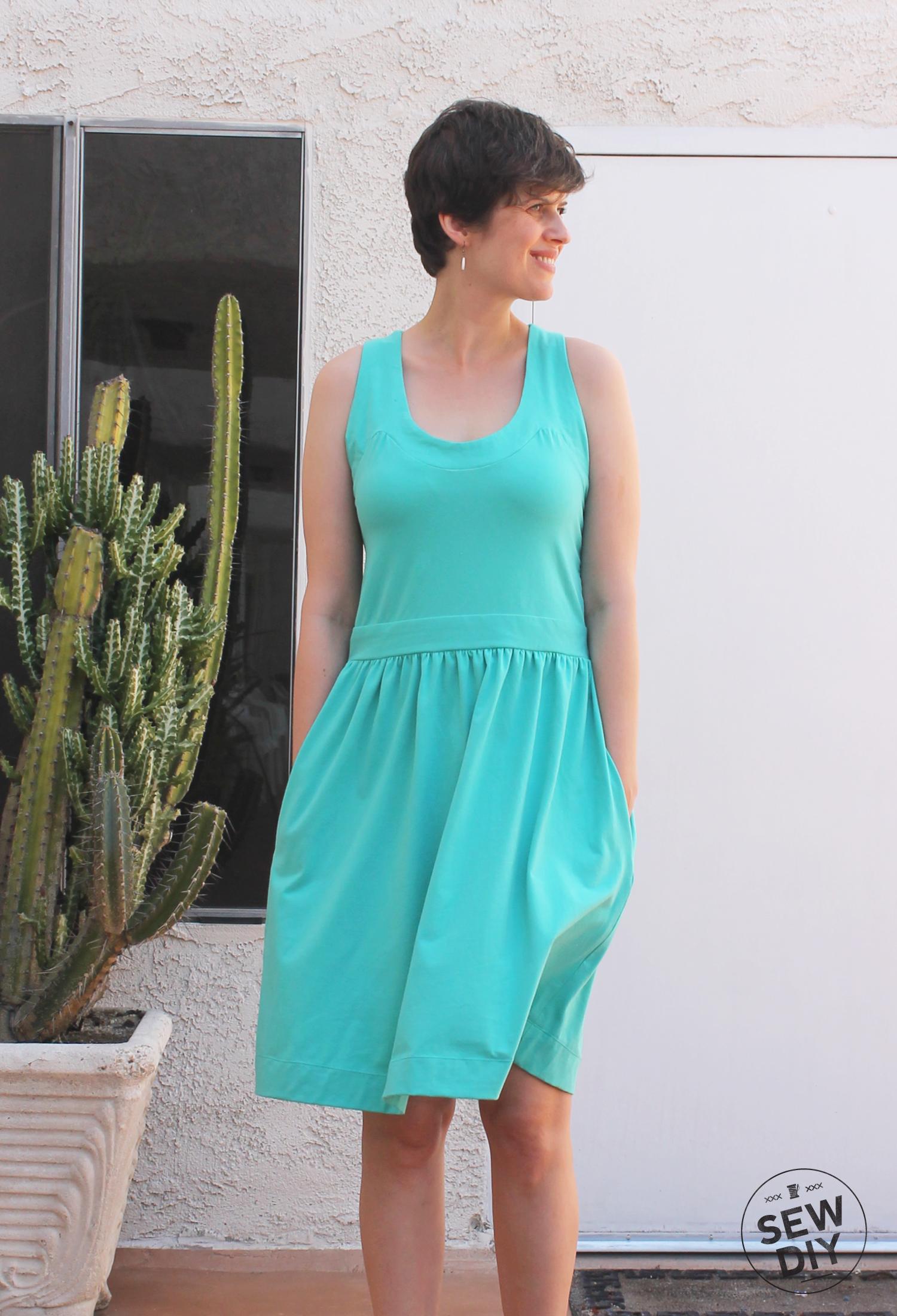 Teal Racerback Knit Dress Simplicity 2443 – Sew DIY
