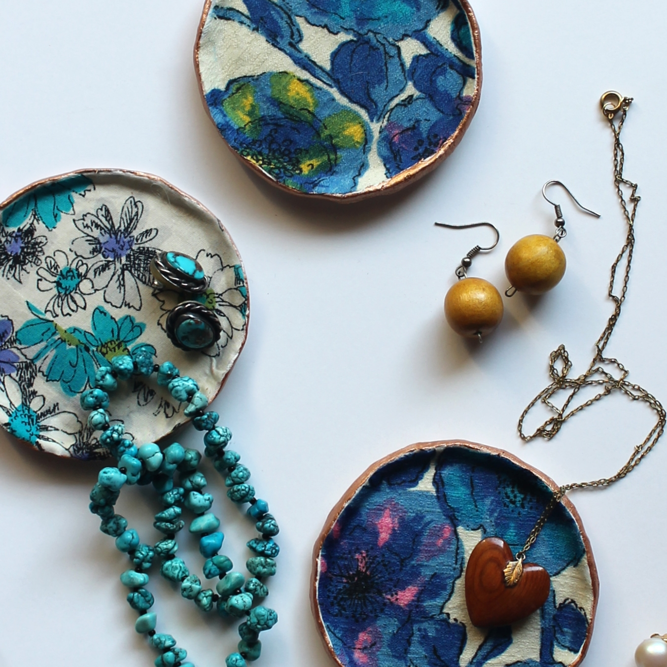 Fabric Decoupage Jewelry Dishes