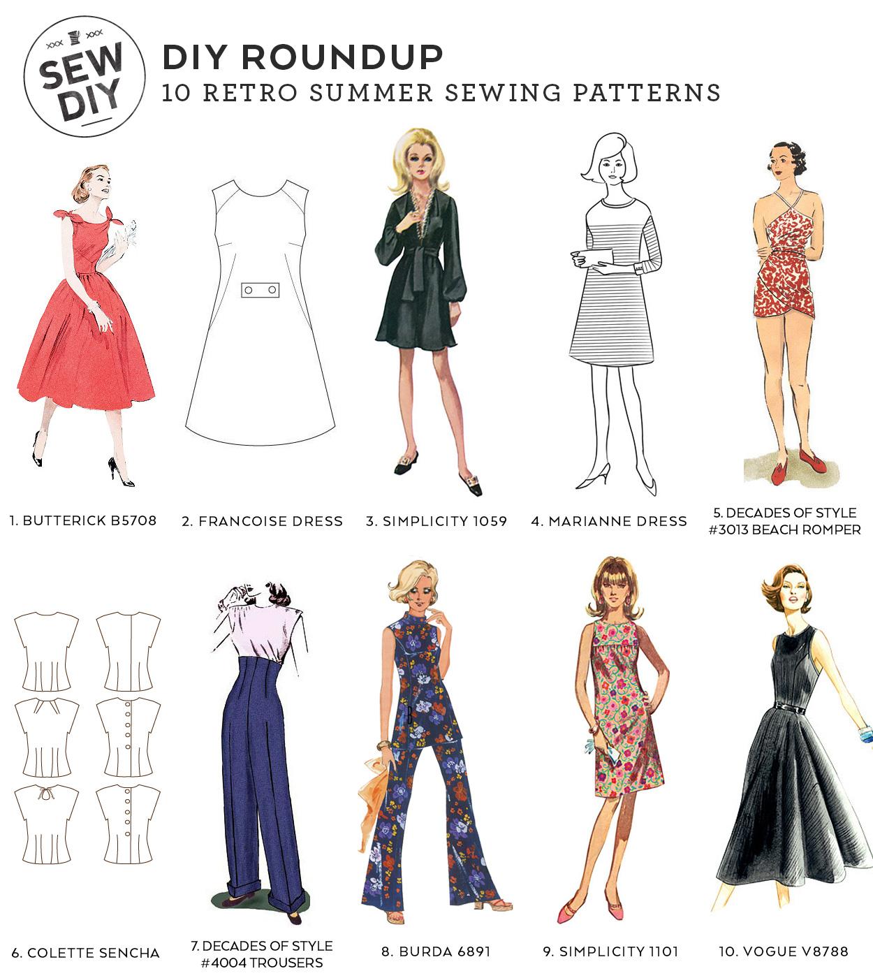 10 Retro Sewing Patterns –Sew DIY