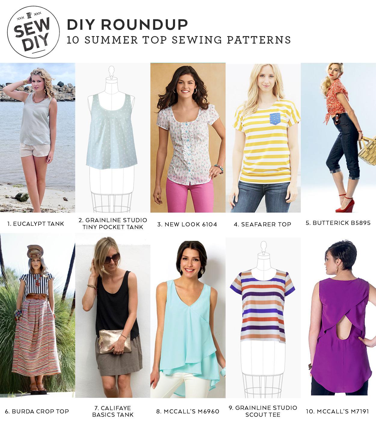 10 Summer Top Sewing Patterns – DIY Roundup   Sew DIY