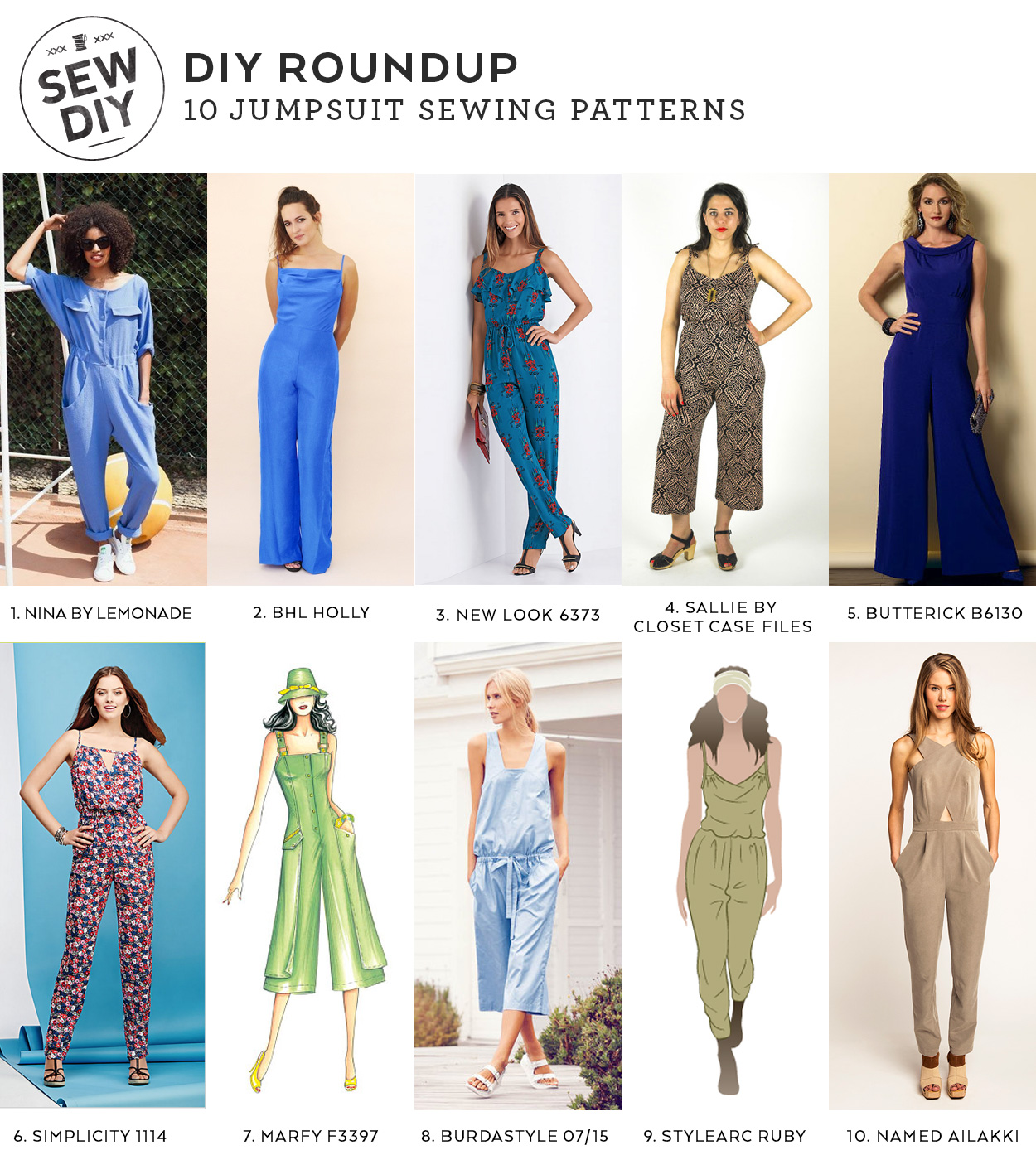 10 Jumpsuit Sewing Patterns | Sew DIY