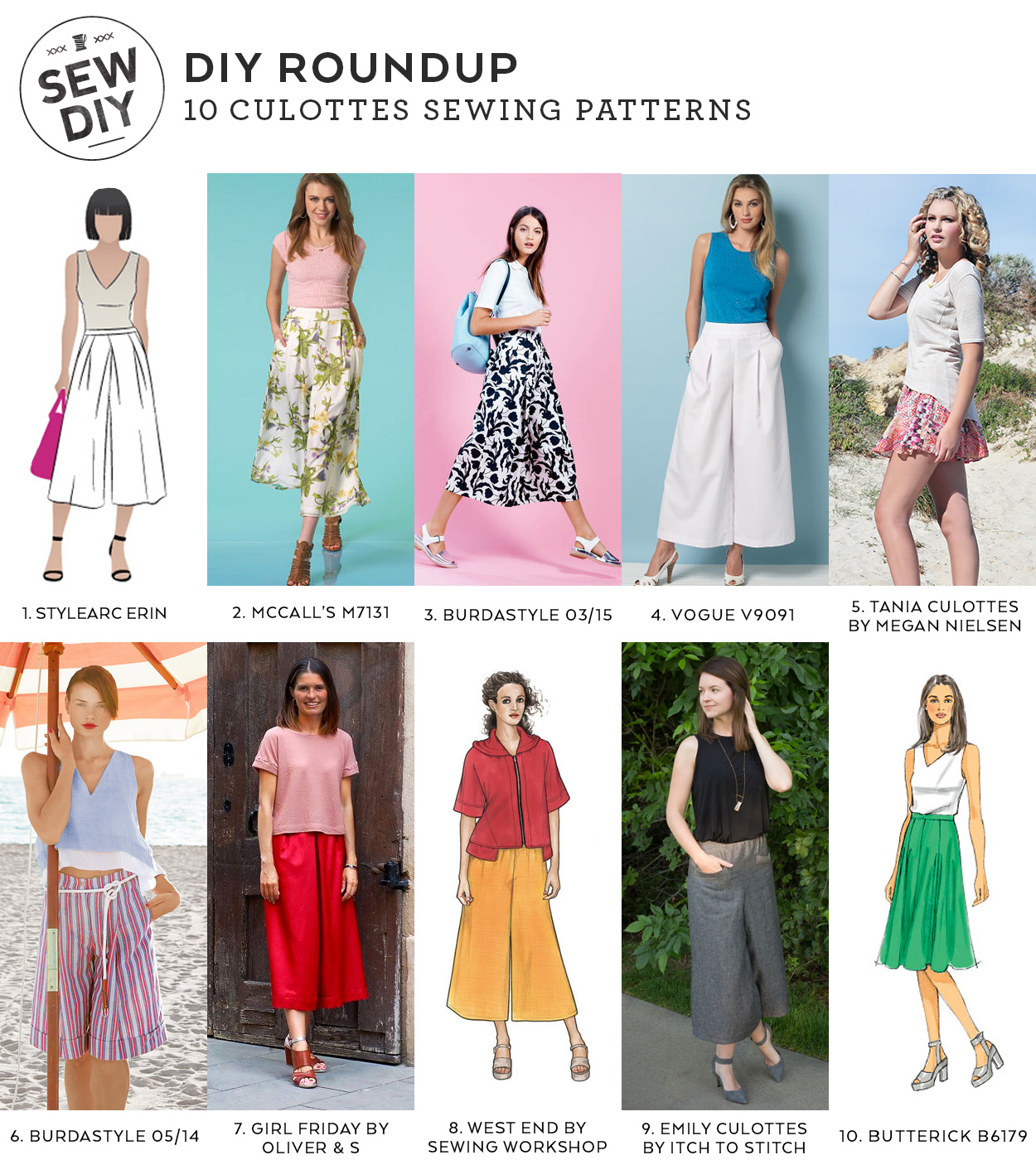 10 Culottes Sewing Patterns Roundup | Sew DIY