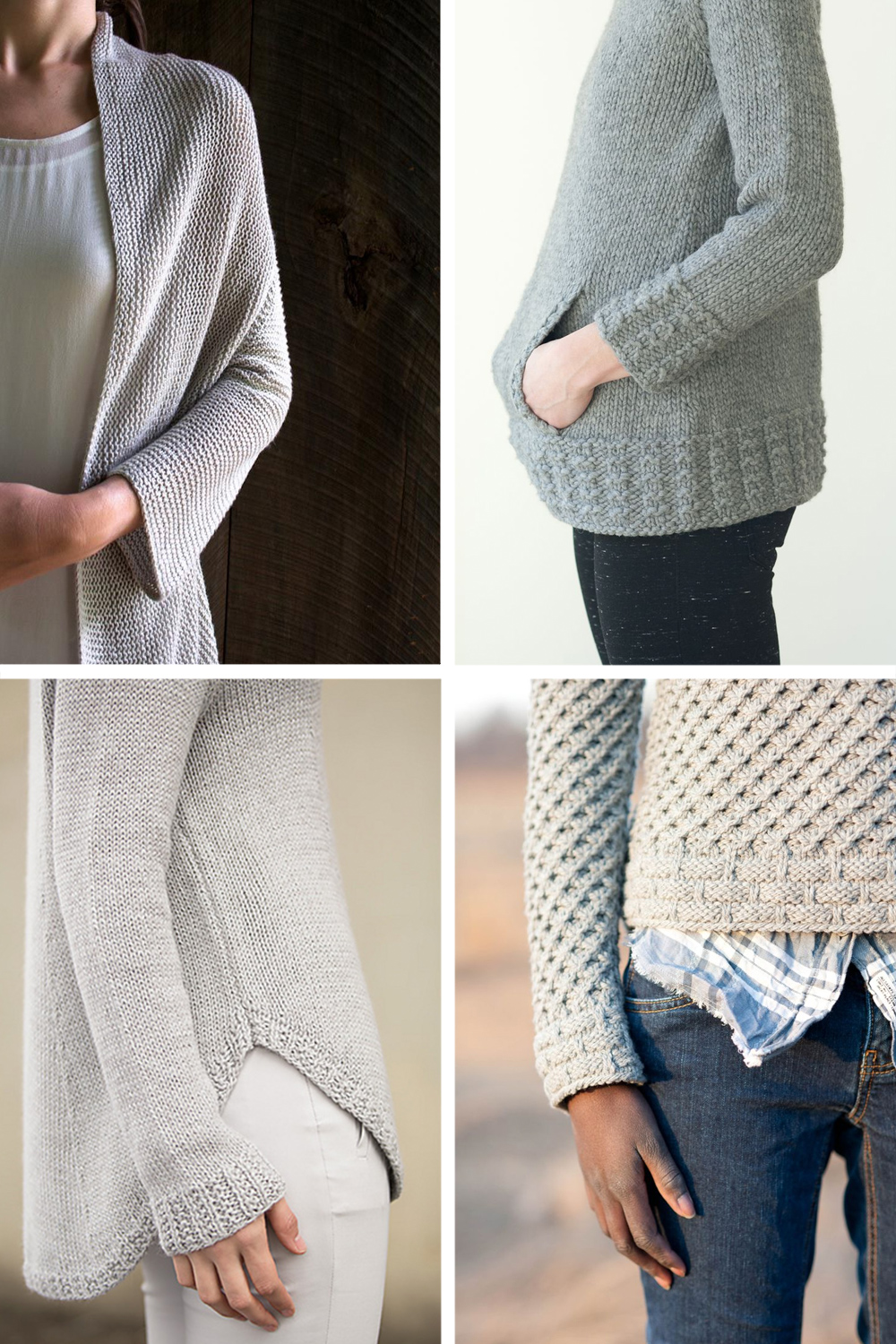 Clockwise from top left:  Folded Squares Cardigan  //  Montagne Sweater  //  Tundra Pullover  //  Shibui No. 31