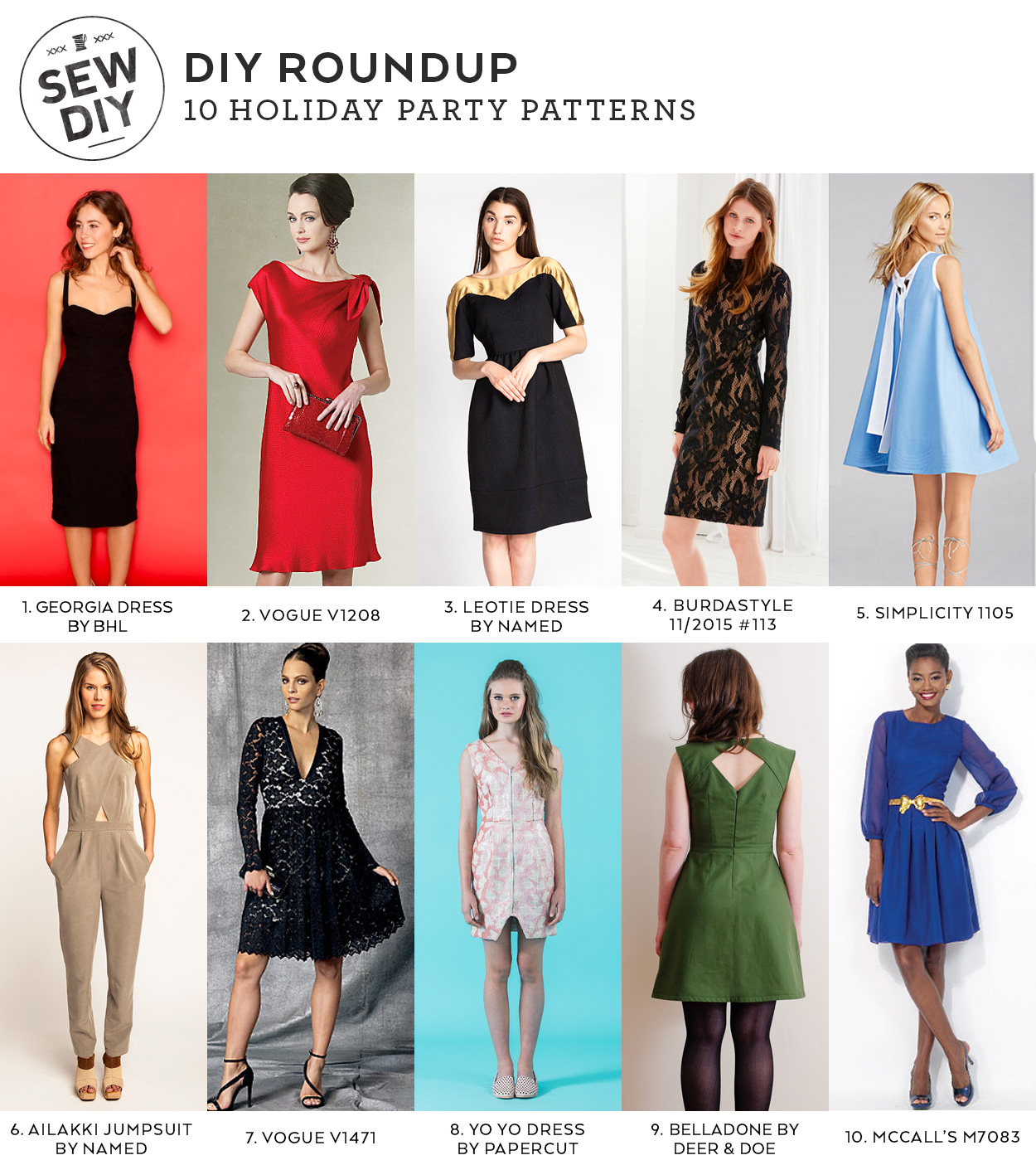 10 Holiday Party Dress Sewing Patterns | Sew DIY
