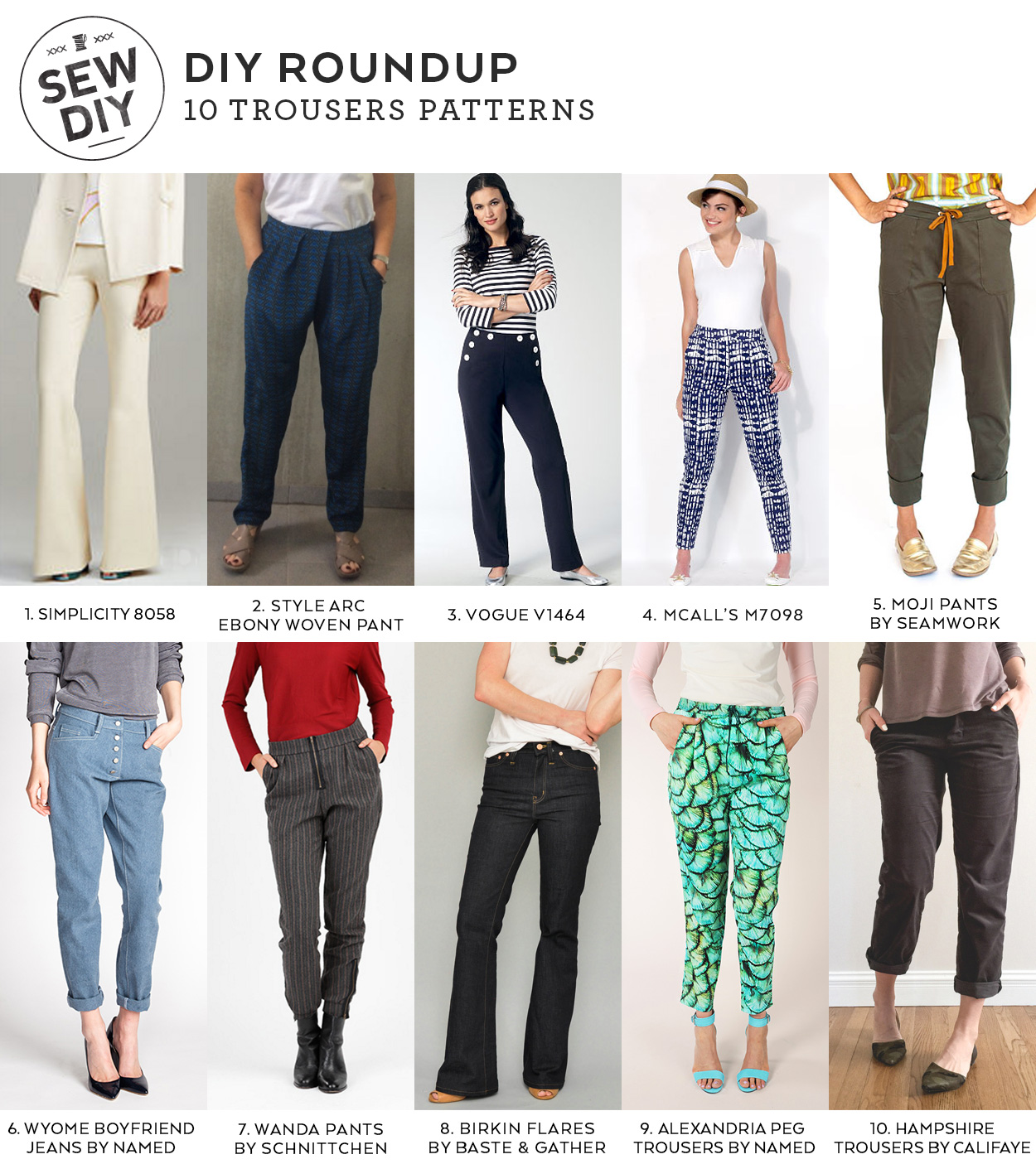 10 Trousers Sewing Patterns for Spring   Sew DIY