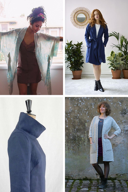 Clockwise from top left:  Almada Kimono  //  Wanda Trench Coat  //  Opal Cardigan  //  French Dart Shift