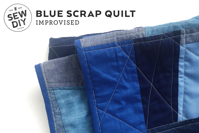 DIY Improvised Blue Scrap Quilt