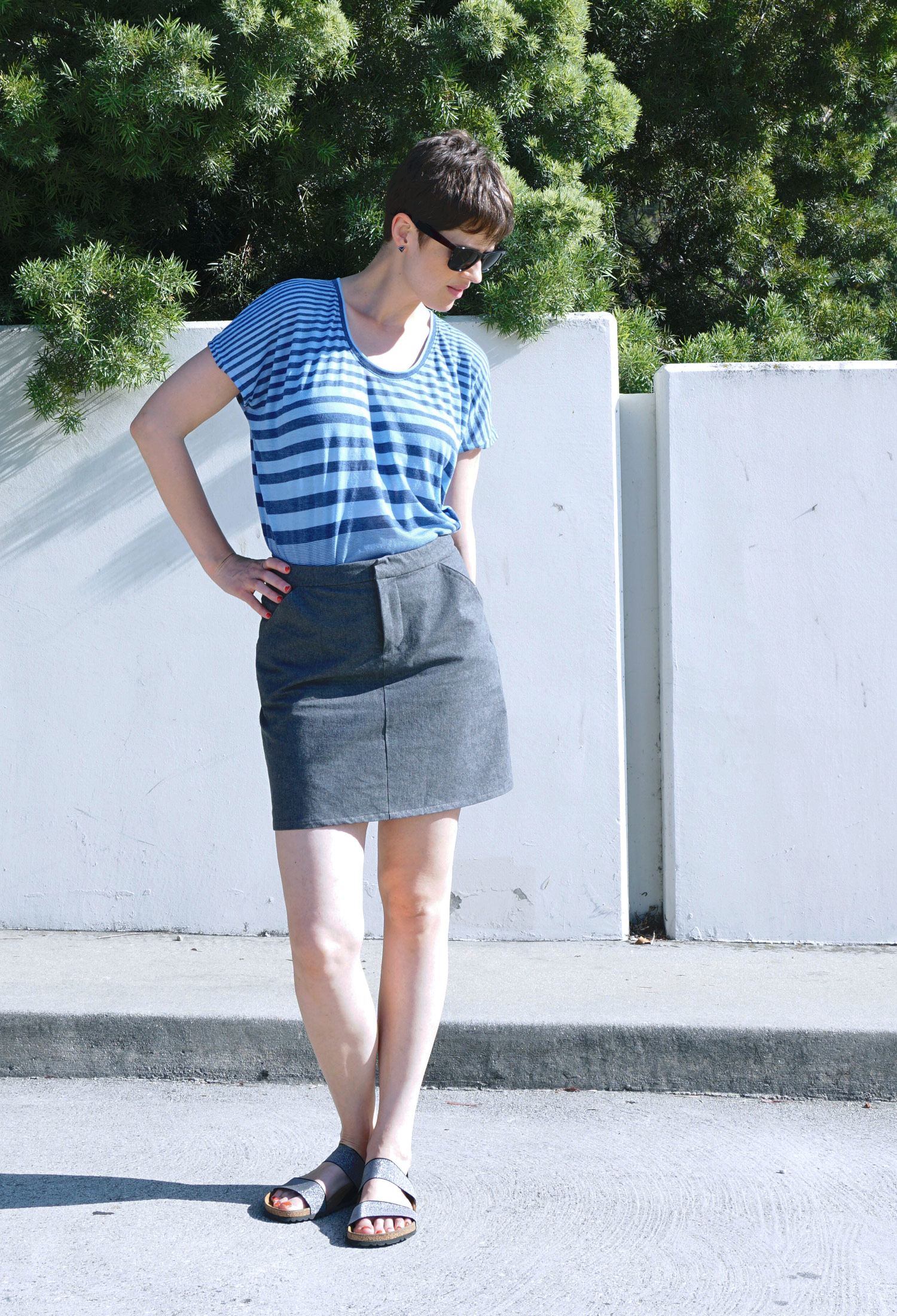 DIY Grey Denim Moss Mini Skirt by Grainline Studio | Sew DIY