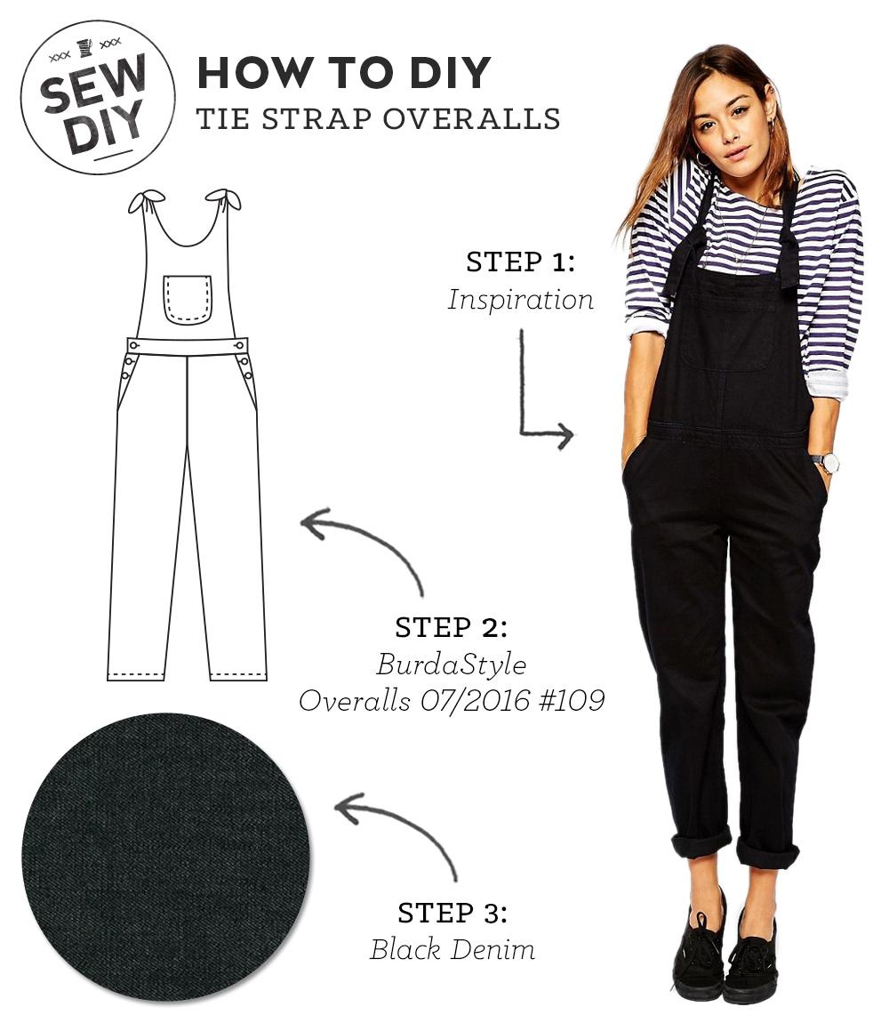 How to DIY Tie Strap Overalls   Sew DIY