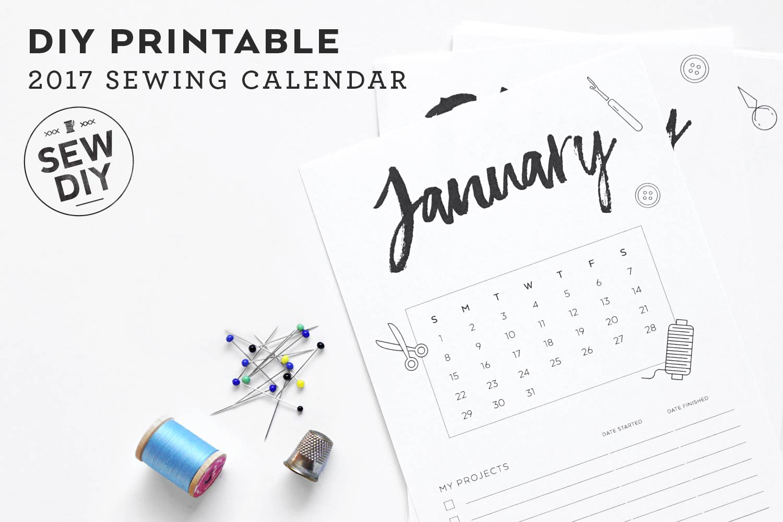 Free DIY Printable 2017 Sewing Calendar   Sew DIY