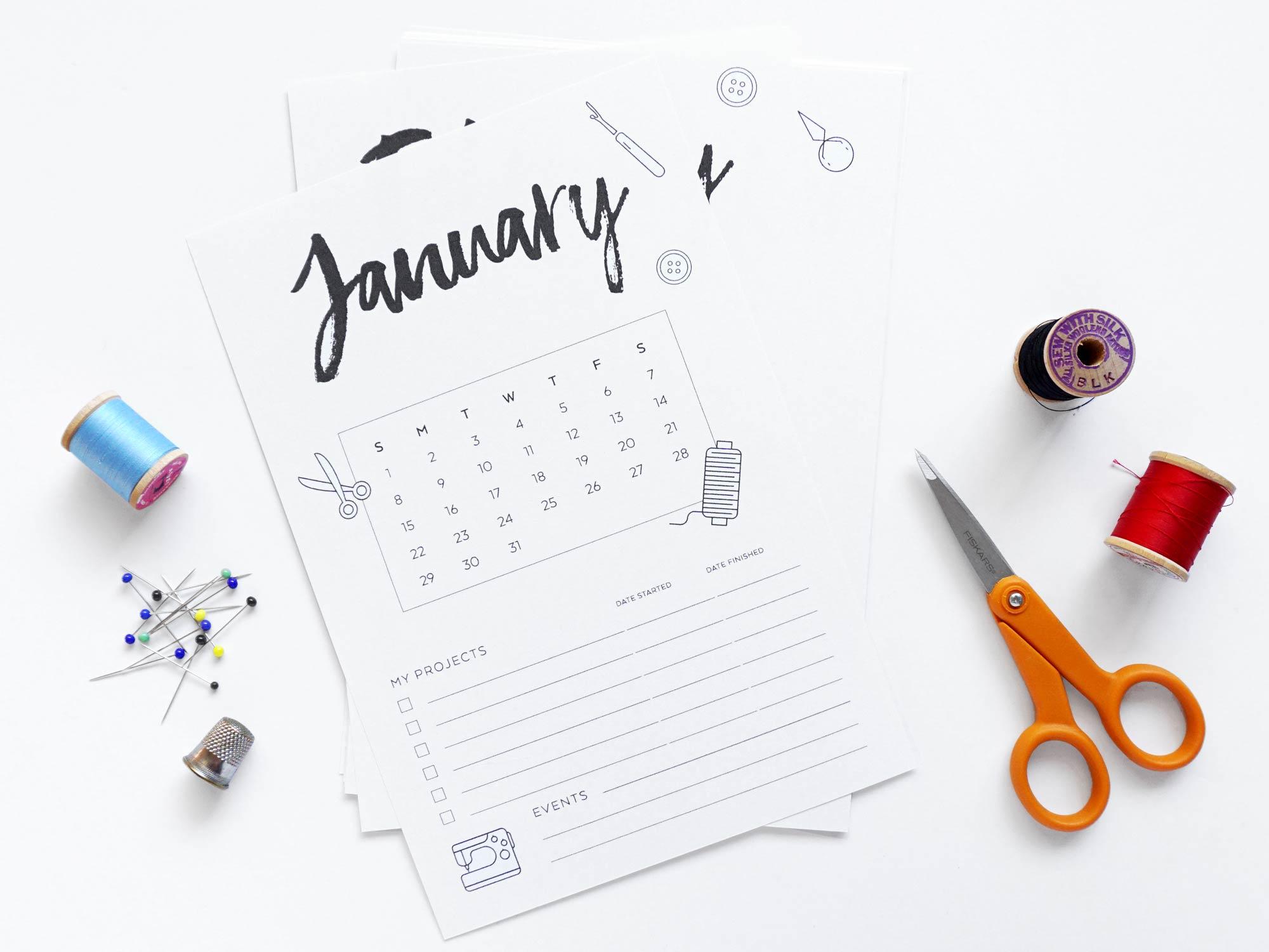 Free DIY Printable 2017 Sewing Calendar | Sew DIY