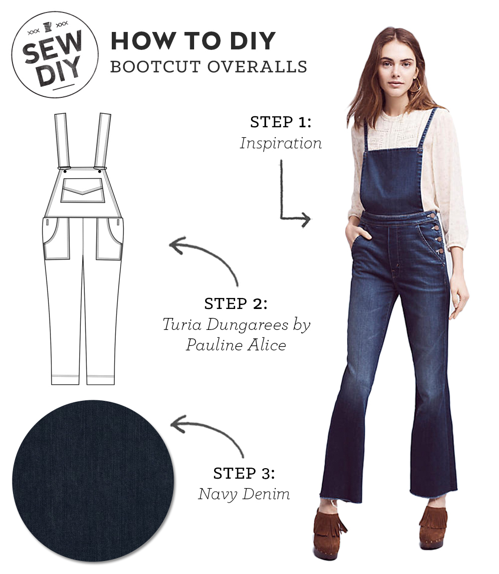 Click to learn how to DIY a Bootcut Overalls.