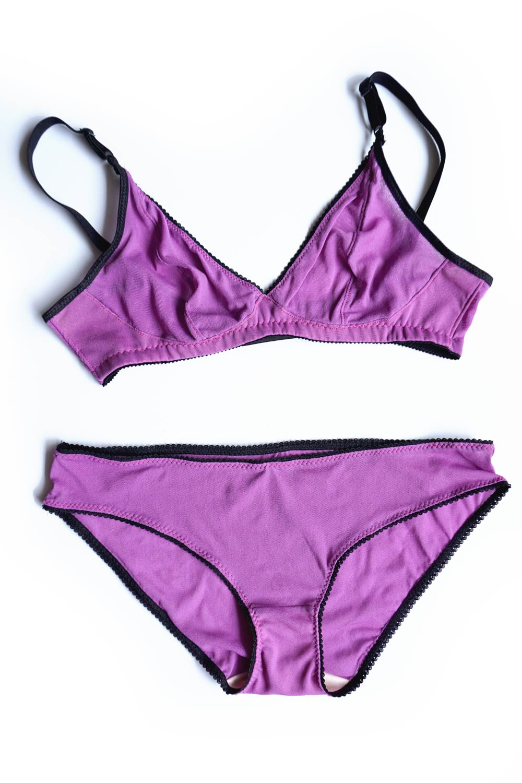 DIY Magenta Lingerie Set. The Watson Bra & Bikini pattern by Cloth Habit   Sew DIY