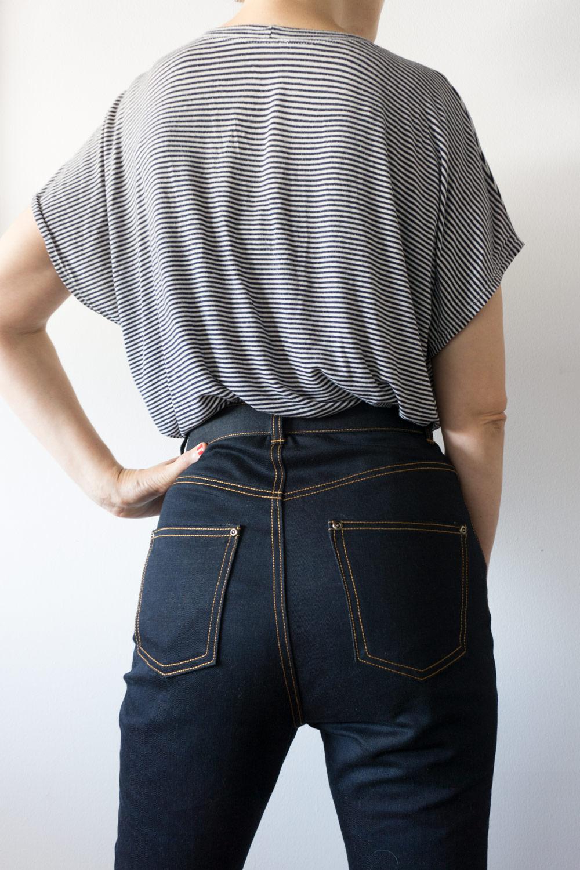 DIY High Rise Rigid Jeans - Megan Nielsen Dawn Jeans   Sew DIY