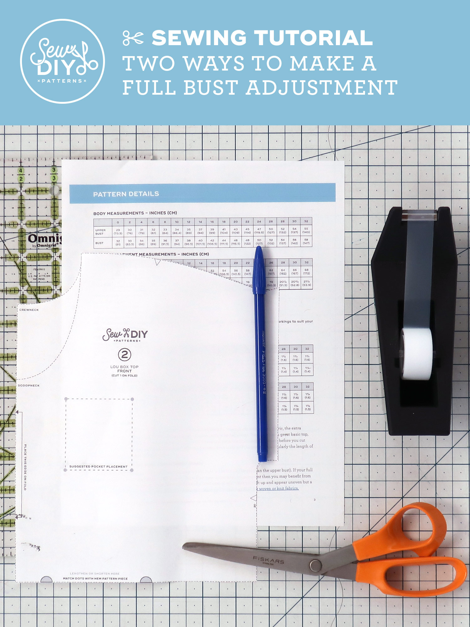 Two Ways to Make a Full Bust Adjustment for the Lou Box Top by Sew DIY