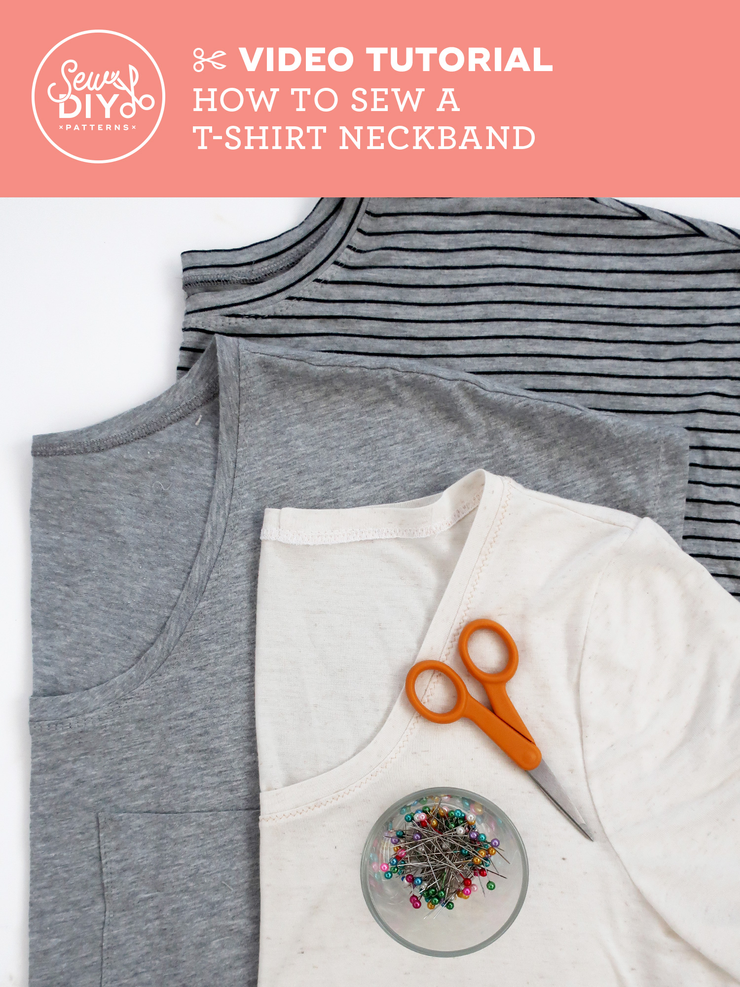 Video Tutorial - How to sew a t-shirt Neckband from Sew DIY