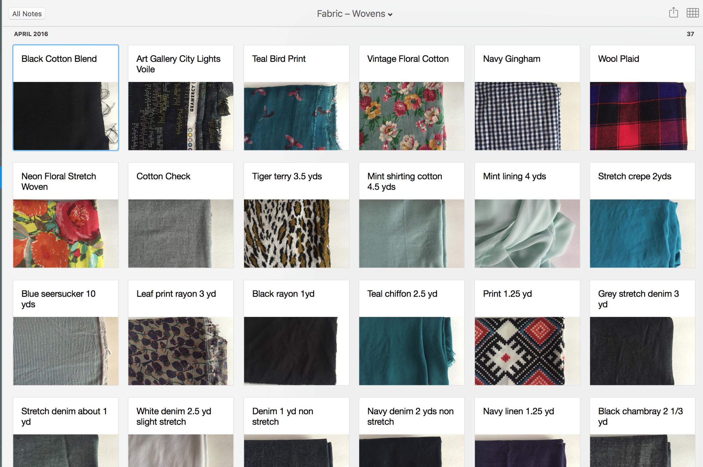 Fabric Catalog using Evernote