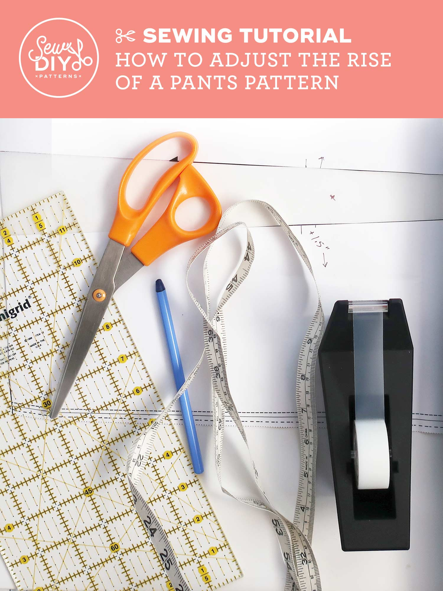 Learn how to lengthen or shorten the rise of a pants pattern in this video from Sew DIY
