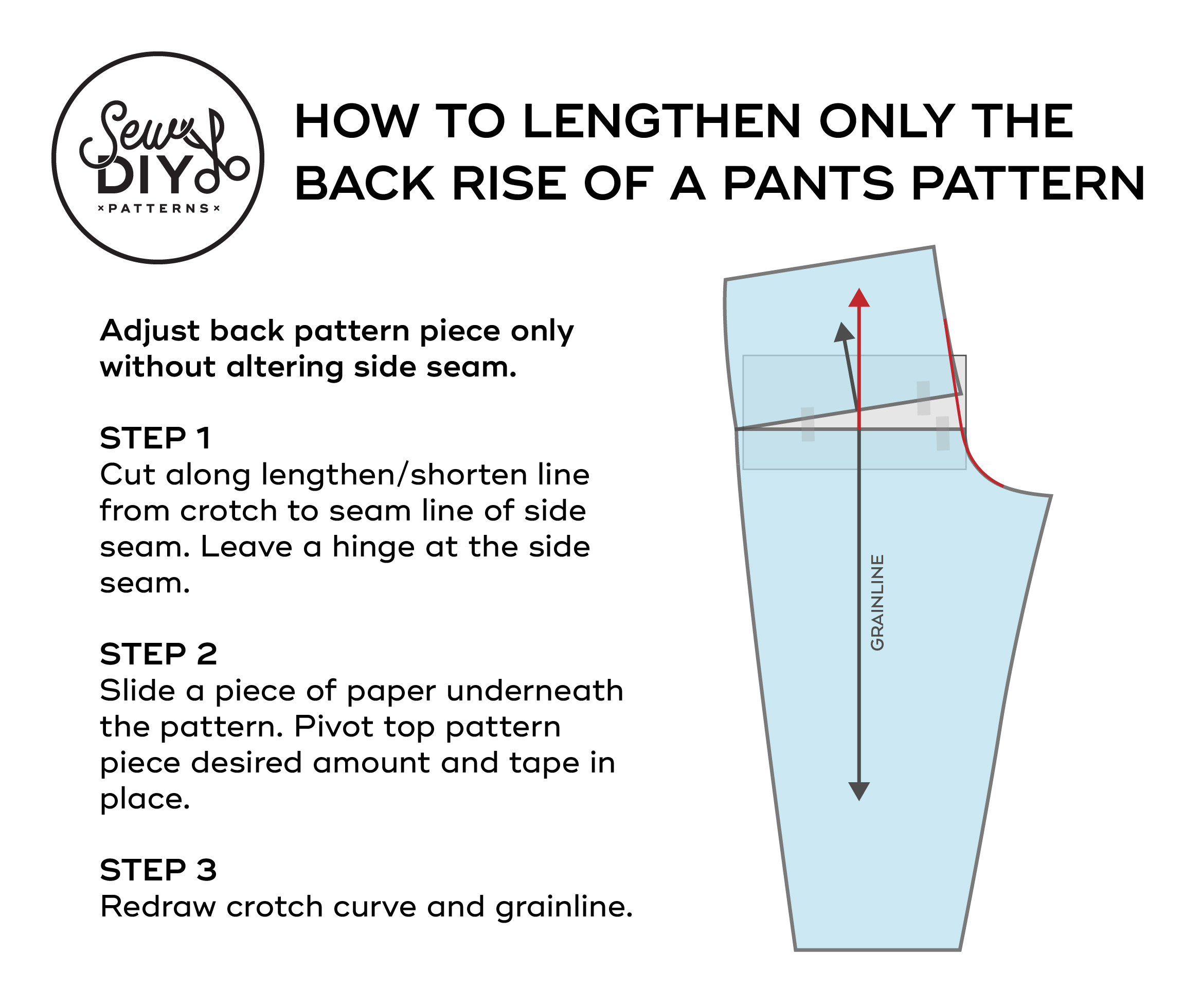 How to lengthen back rise only of a pants pattern tutorial by Sew DIY