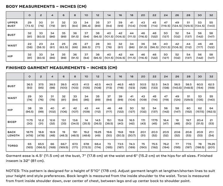Dana Jumpsuit PDF pattern size chart