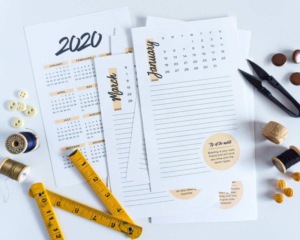 2020 Free Printable Calendar from Sew DIY