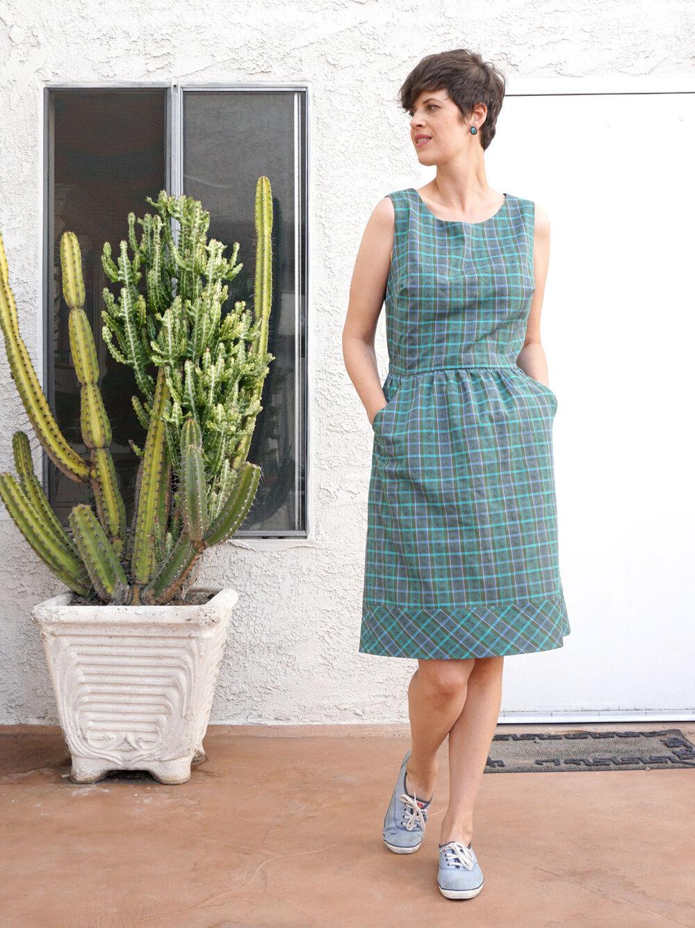 Plaid cross back dress Butterick B6351 by Sew DIY