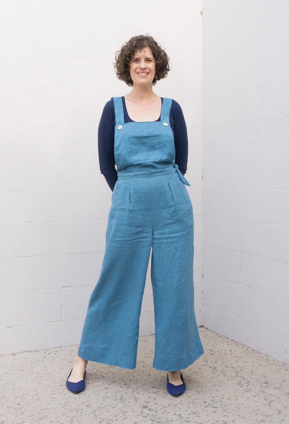 Flint Pants with Bib in blue-green teal linen by Sew DIY