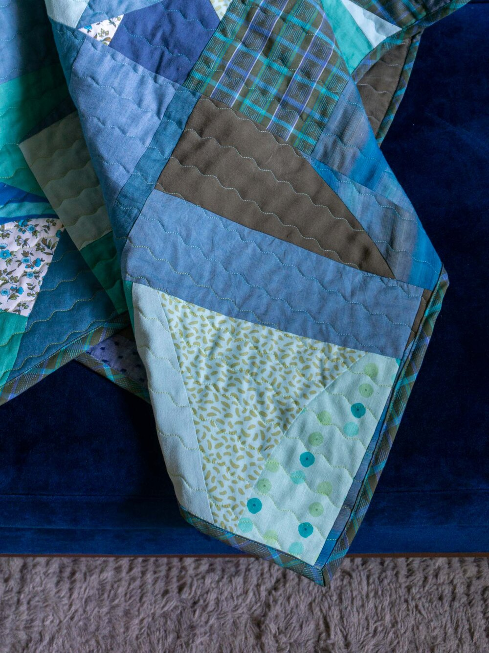 Green Waves Improvisational Quilt Made with Garment Fabric Scraps