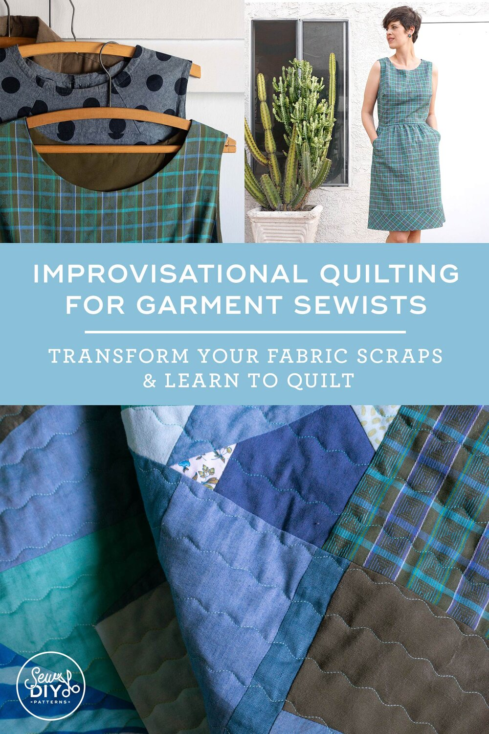 Improvisational Quilting for Garment Sewists, a new e-course from Sew DIY. Learn how to use your scrap fabric to make beautiful and useful improvisational quilts.