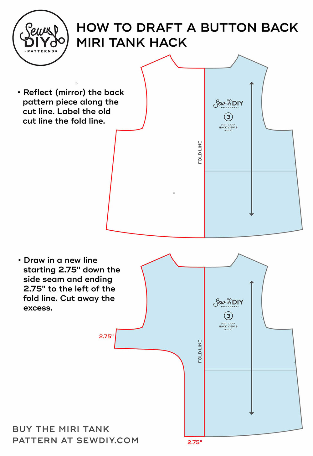 How to draft a button back tank top –Miri Tank sewing pattern hack by Sew DIY