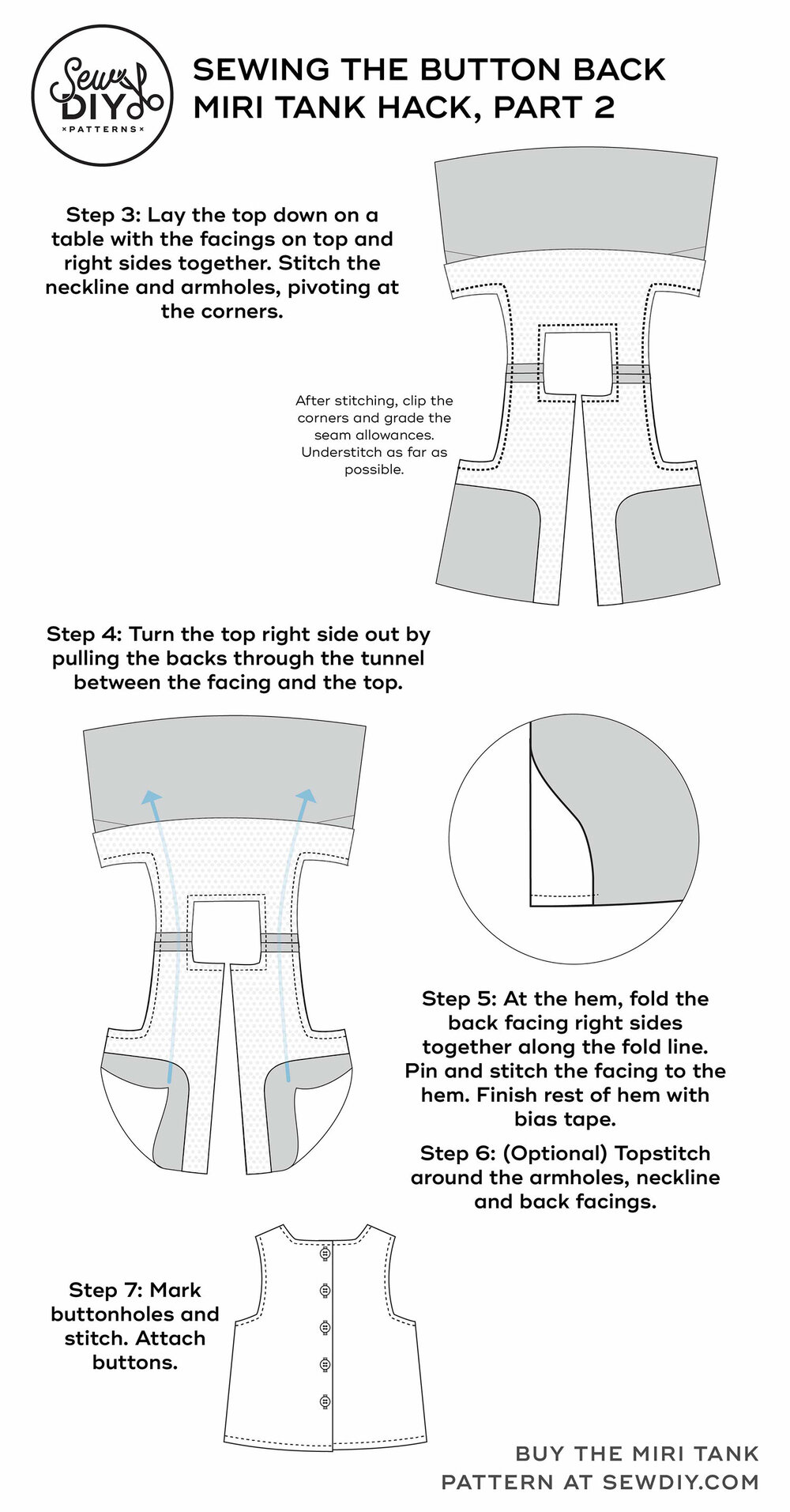 How to sew a button back Miri Tank Top – Sewing pattern hack by Sew DIY