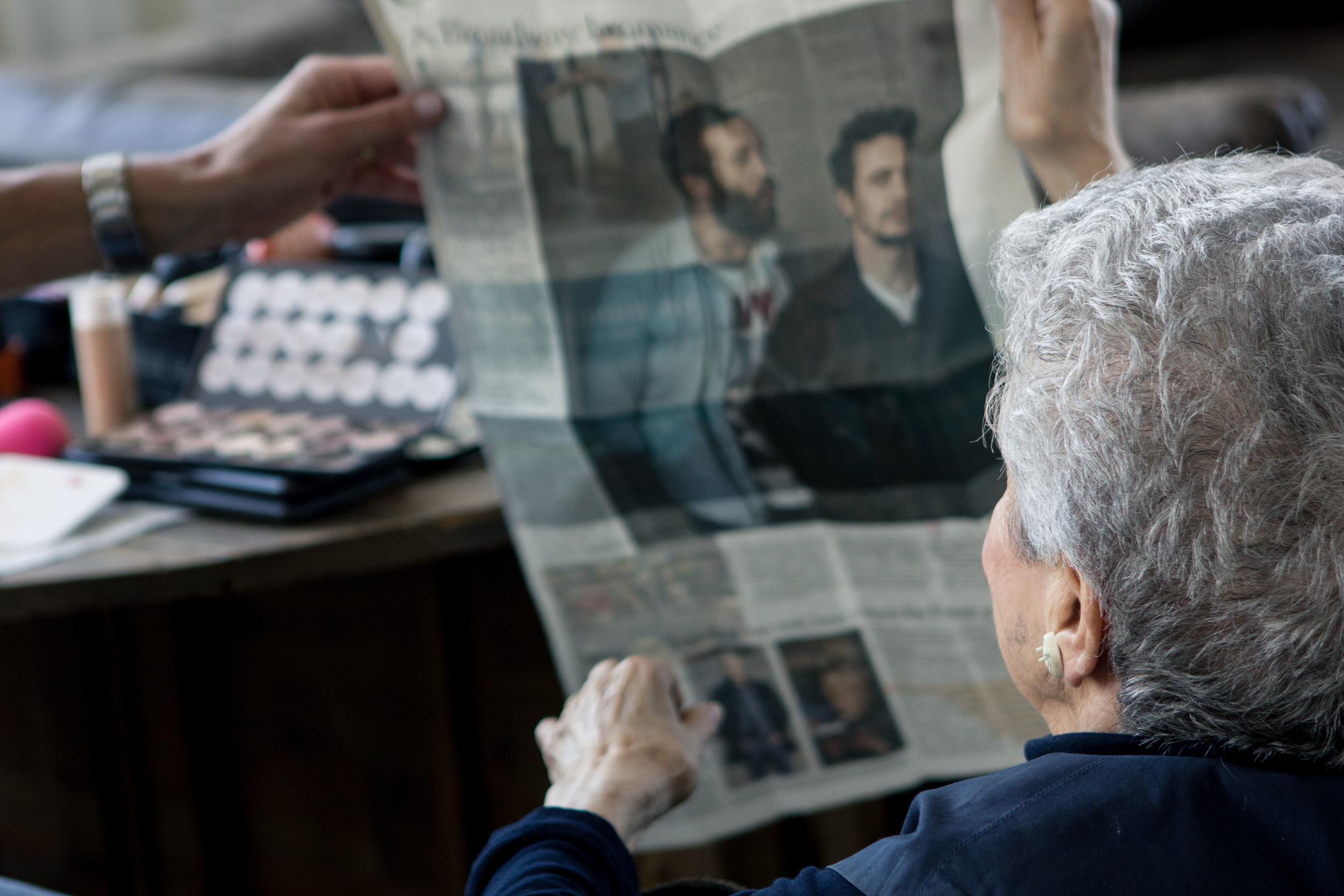 Mitze Verne showing off her grandson, James Franco, in a newspaper article.