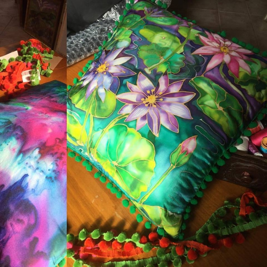 WATERLILY hand painted silk cushion