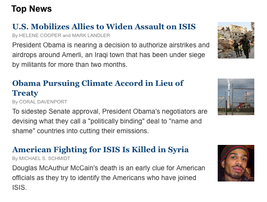 The New York Times Top Headlines from August 27, 2014