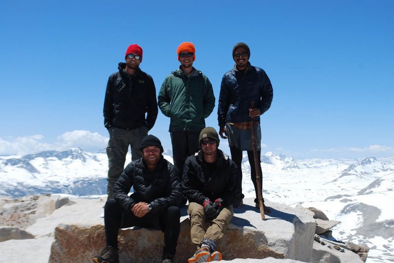 Clockwise from top left: Slapshot, Sam, Josh, Ben, and Picker on the summit of Mt. Whitney.