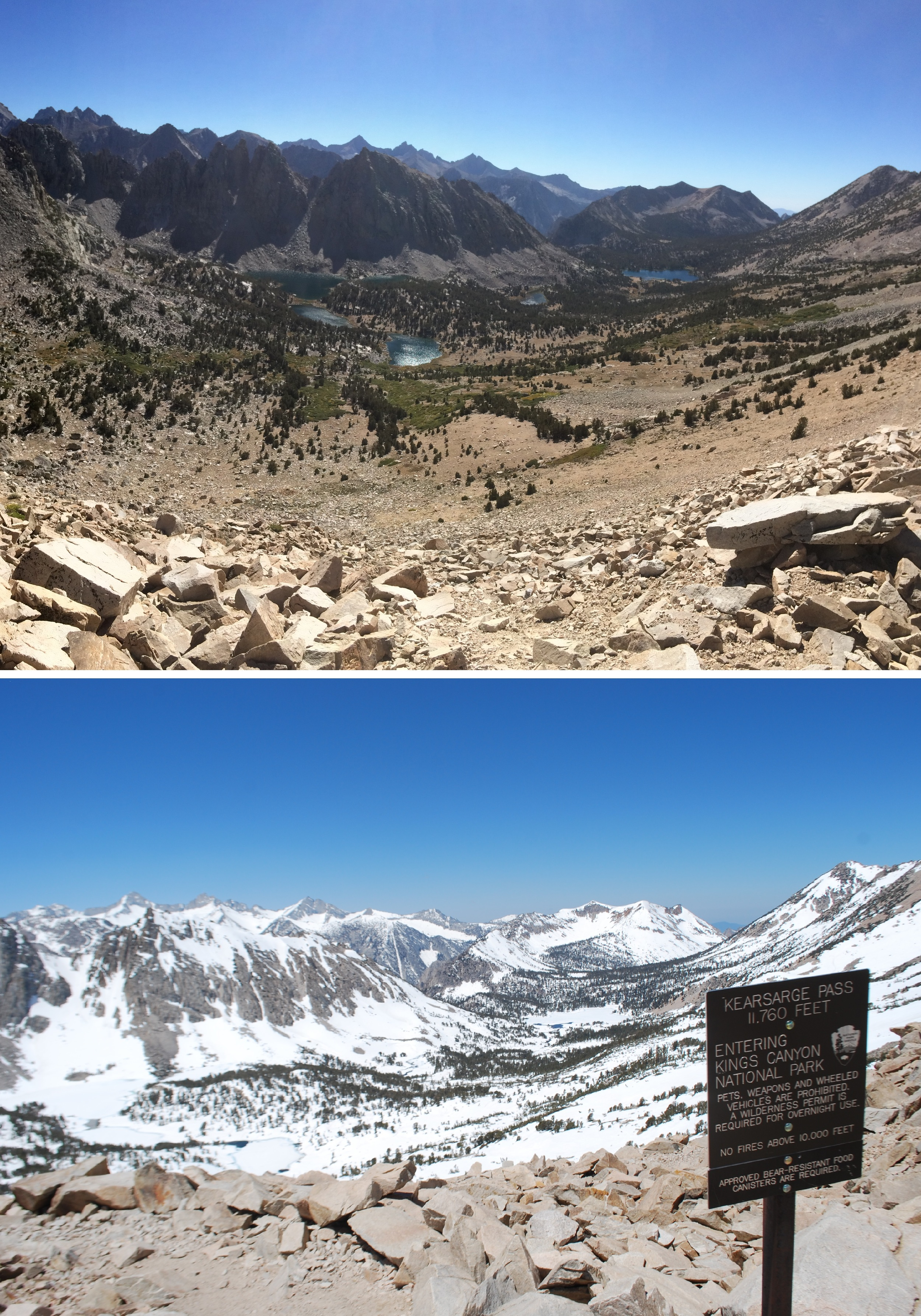 Comparison at Kearsarge Pass in the Sierra Nevada mountains. Top photo taken in summer conditions on August 31, 2014, bottom photo taken June 15, 2011.