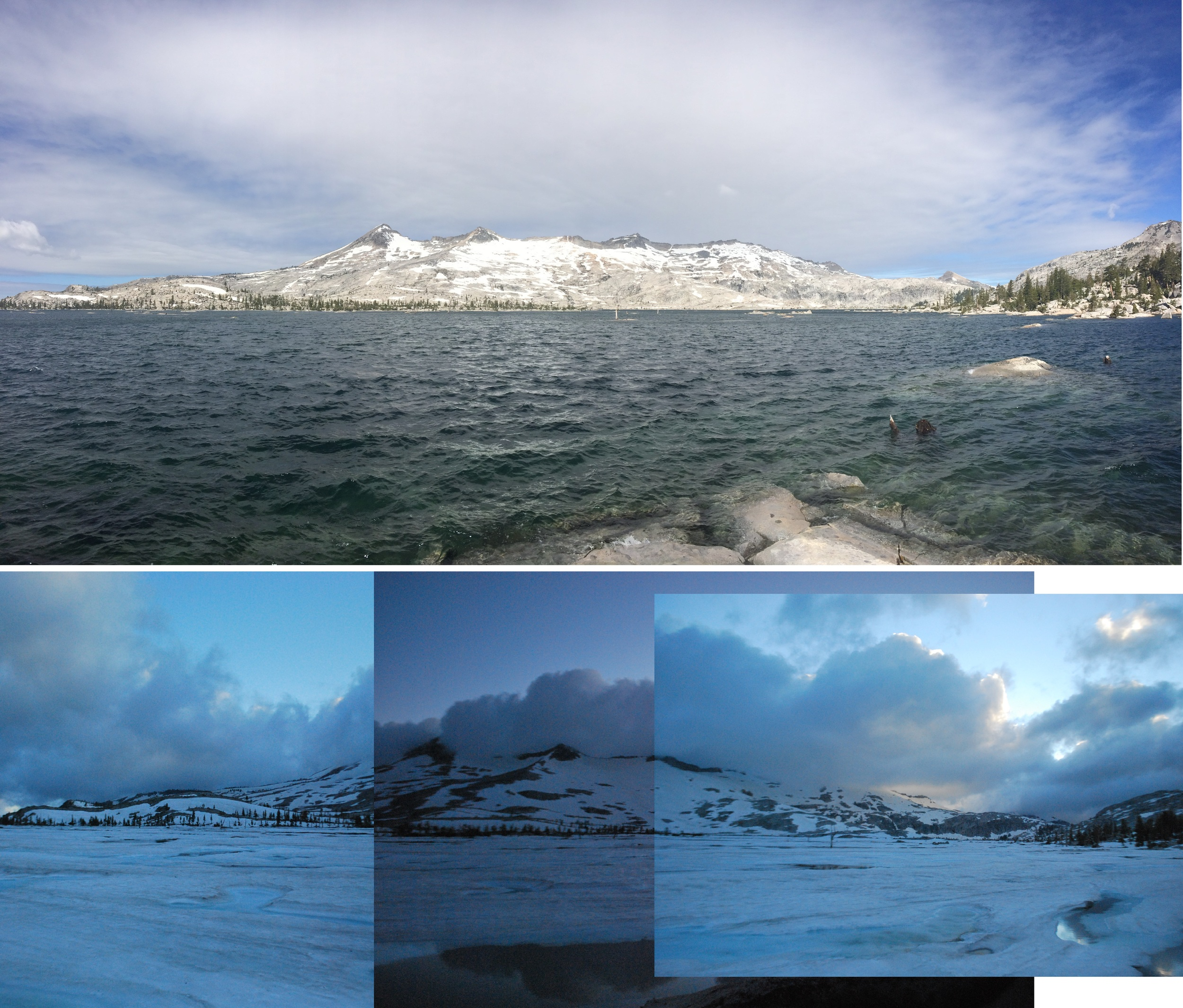 Comparison at Lake Aloha in the northern Sierra Nevada mountains. Top photo taken June 16, 2014, bottom photo taken almost a month later in the summer on July 13, 2011.