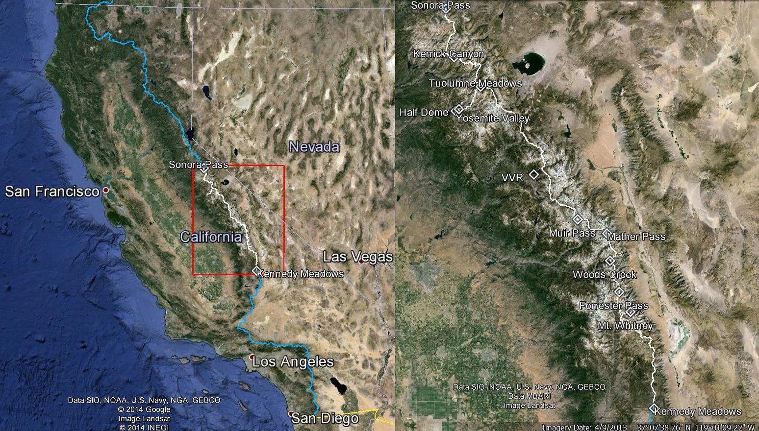 [Click image to enlarge]  Left image shows the PCT through California and the insert on right shows the section through the Sierra Nevada mountains up to Sonora Pass, a total of 360 miles hiked for the authors, including detours, over 25 days. This narrative is presented in two parts: Part 1 from Kennedy Meadows to VVR, and Part 2 from VVR to Sonora Pass.