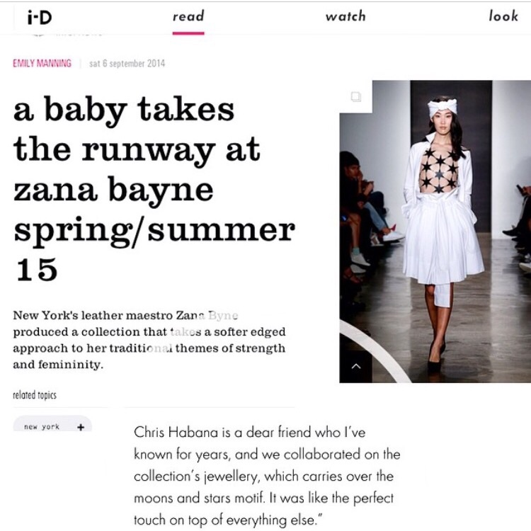 """Our collaboration with ZANA BAYNE for her Spring/ Summer 2015 """"Moonbathers"""" Collection was featured in I-D Magazine"""