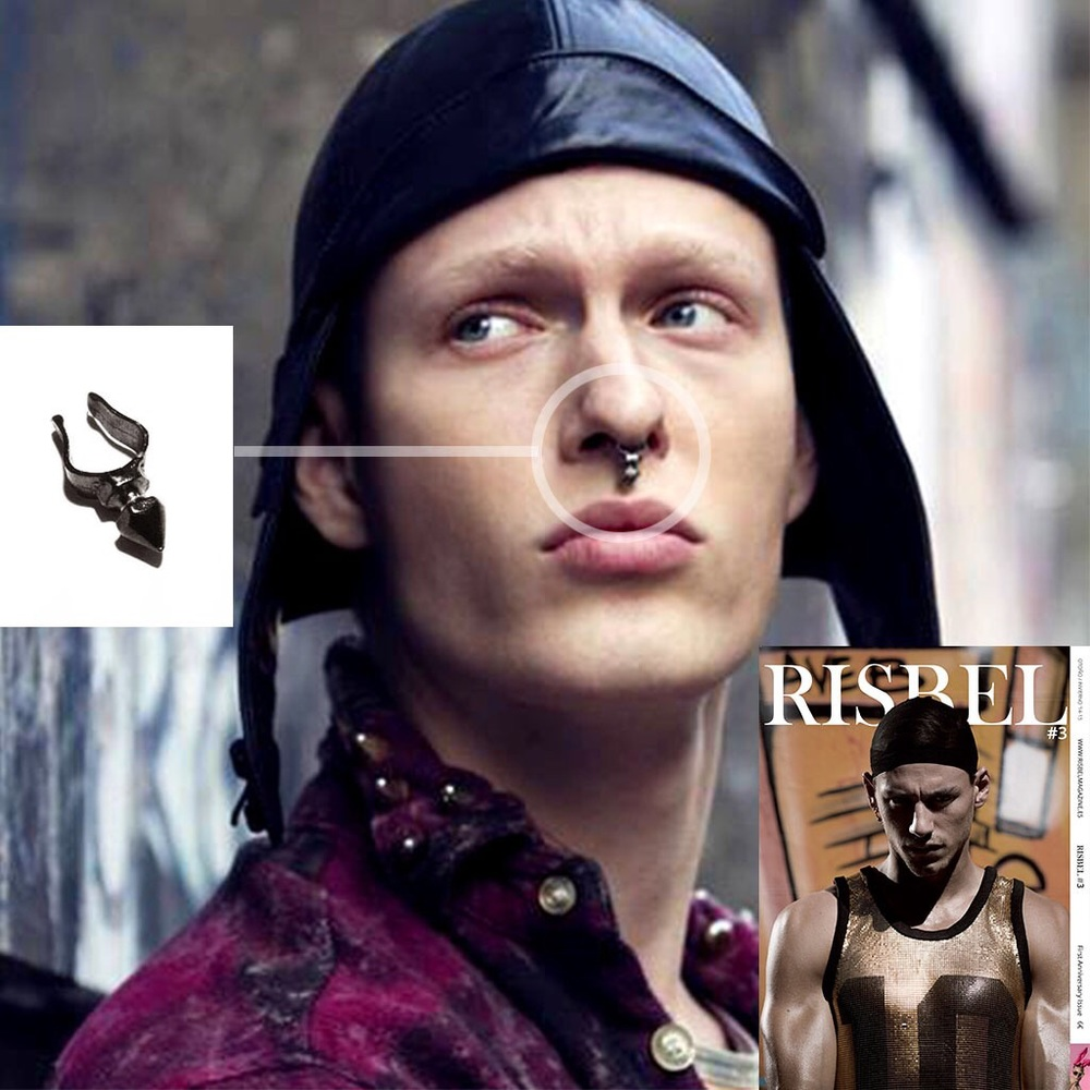 The AGGRESSION CUFF worn in Issue #3 of RISBEL MAGAZINE.
