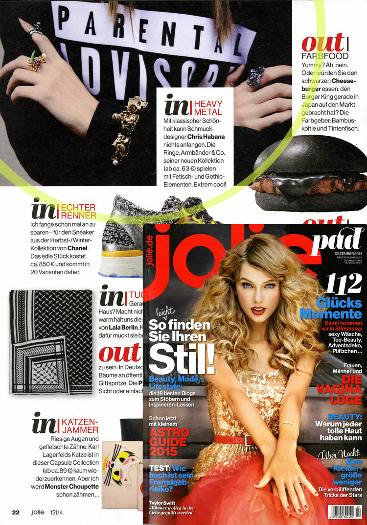 "An image from our SS13 ""TRANSFORMERS"" Collection featured in JOLIE Magazine."