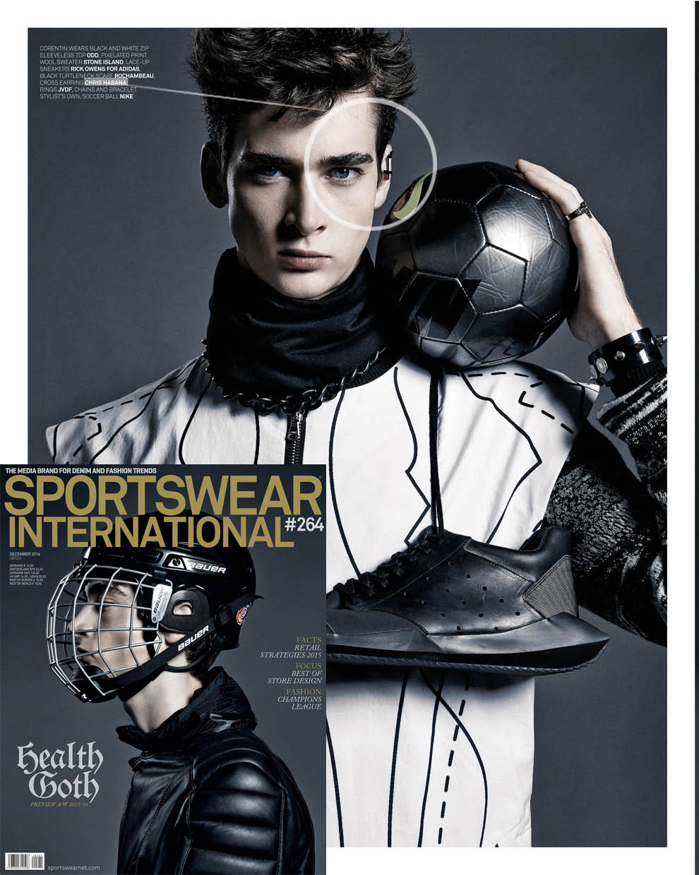 "Our ""CROSS DIVE CUFF"" featured in issue #264 of SPORTSWEAR INTERNATIONAL."