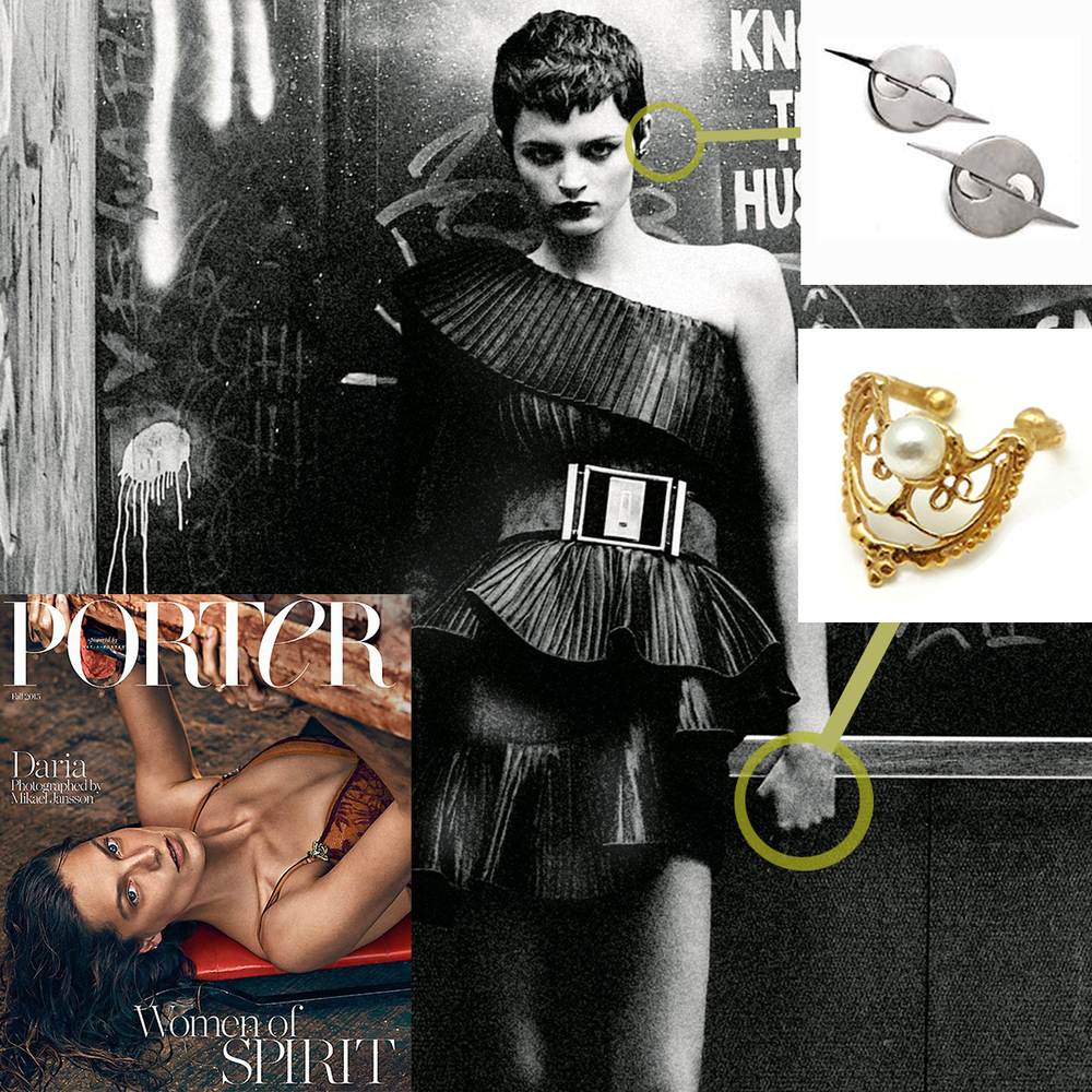 The LAST PRAYER RING and HATURN LOGO EARRNG featured in the Autumn/Winter 2015 issue of PORTER MAGAZINE