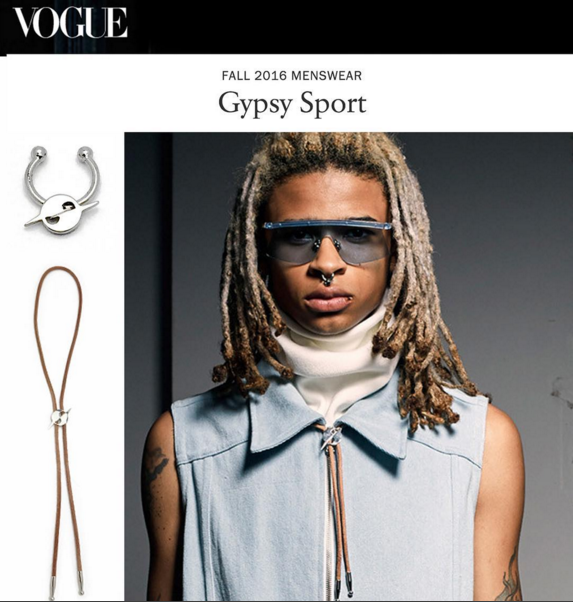 VOGUE MAGAZINE  GYPSY SPORT FALL 2016 MENS SHOW COVERAGE  HATURN SEPTUM CUFF AND HATURN BOLO TIE  FEBRUARY 2016