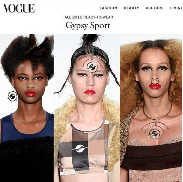 VOGUE MAGAZINE  GYPSY SPORT FALL 2016 SHOW COVERAGE FEATURING COLLABORATION JEWELRY  FEBRUARY 2016