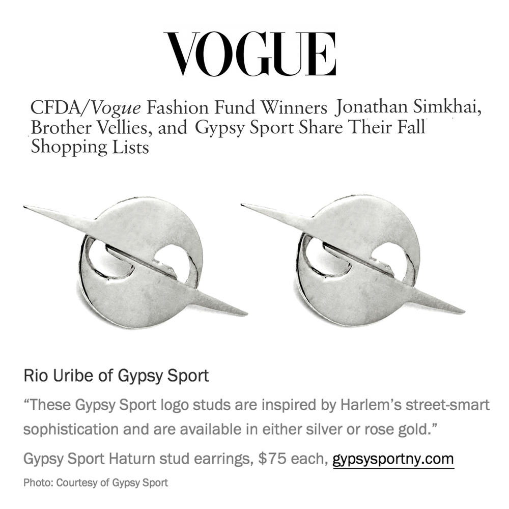 VOGUE.COM  RIO URIBE'S PICKS FOR FALL  COLLABORATION HATURN STUD EARRINGS  NOVEMBER 2015