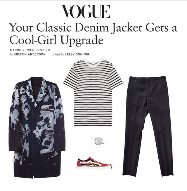VOGUE MAGAZINE  DENIM JACKET FEATURE  HATURN ORBIT STUD EARRING  MARCH 2016