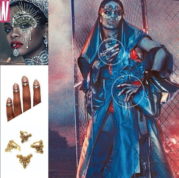 Rihanna wears the LA BRUJA FINGERTIP RINGS in an editorial for the September 2016 issue of W MAGAZINE