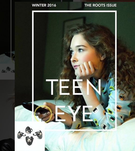 The DEITY TIP RINGS featured on the cover of the Winter 2016 issue of TEEN EYE MAGAZINE